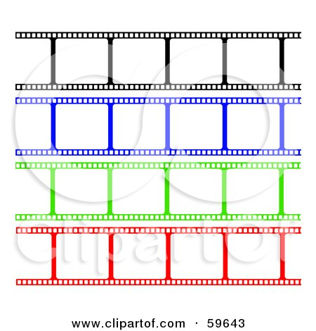 Royalty-Free (RF) Clipart Illustration of a Digital Collage Of Blank Black, Blue, Green And Red Film Strips On White by oboy