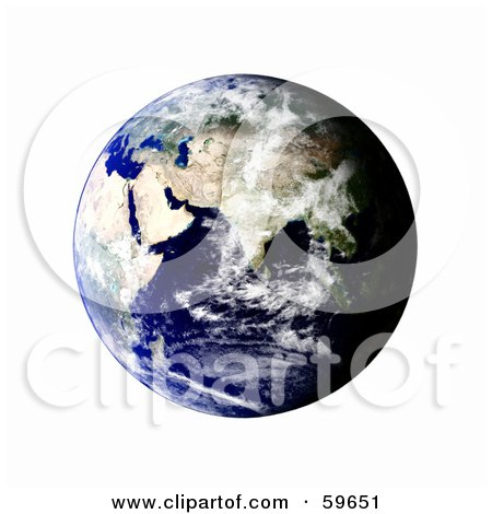 Royalty-Free (RF) Clipart Illustration of a World Globe Featuring The East - Version 5 by oboy