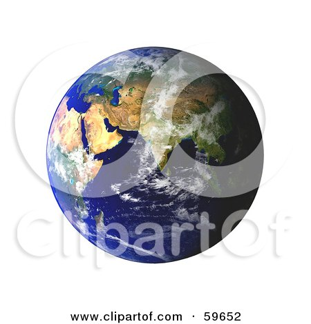 Royalty-Free (RF) Clipart Illustration of a World Globe Featuring The East - Version 3 by oboy