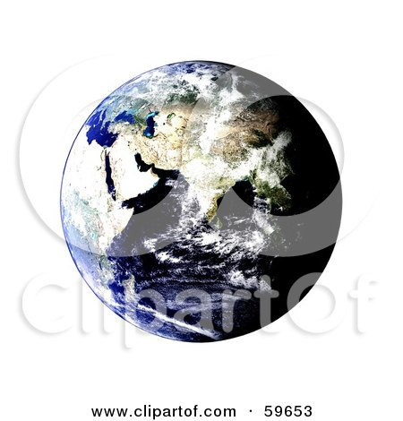 Royalty-Free (RF) Clipart Illustration of a World Globe Featuring The East - Version 1 by oboy