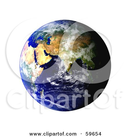 Royalty-Free (RF) Clipart Illustration of a World Globe Featuring The East - Version 2 by oboy