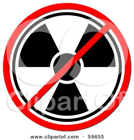 Royalty-Free (RF) Clipart Illustration of a Black And White Radiation Prohibited Sign On White by oboy