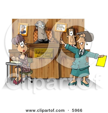 Judge, Witness, Stenographer, and Lawyer in a Courtroom Clipart Picture by djart