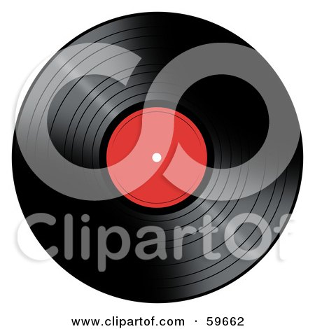 Royalty-Free (RF) Clipart Illustration of a Black Vinyl Record With A Red Label by oboy