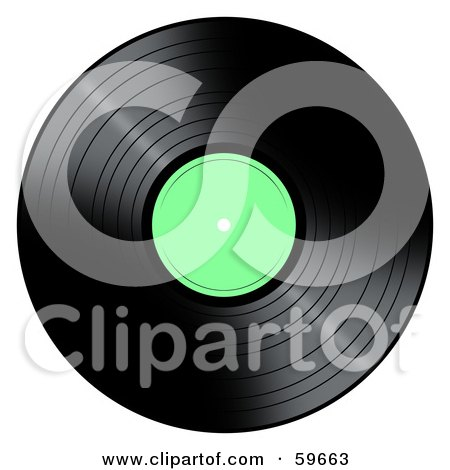 Royalty-Free (RF) Clipart Illustration of a Black Vinyl Record With A Green Label by oboy