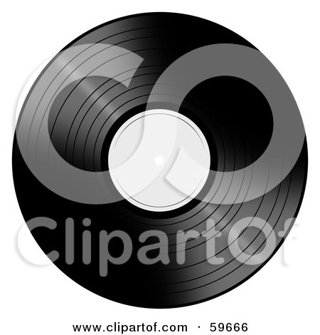 Royalty-Free (RF) Clipart Illustration of a Black Vinyl Record With A White Label by oboy