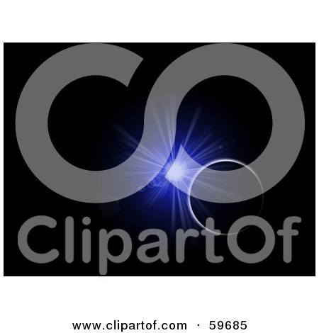 Royalty-Free (RF) Clipart Illustration of a Blue Burst Explosion Illuminating The Rim Of A Planet In The Blackness Of Space by oboy