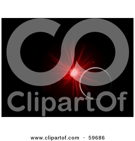 Royalty-Free (RF) Clipart Illustration of a Red Burst Explosion Illuminating The Rim Of A Planet In The Blackness Of Space by oboy