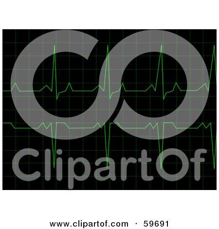 Royalty-Free (RF) Clipart Illustration of a Green Heart Rhythm Electrocardiogram ECG Graph On Black by oboy
