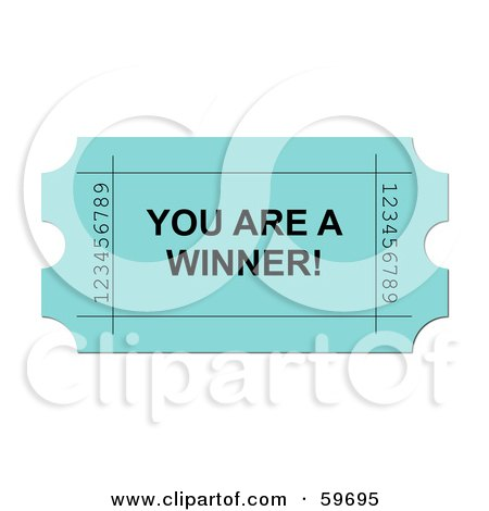 Royalty-Free (RF) Clipart Illustration of a Green You Are A Winner Ticket On White by oboy