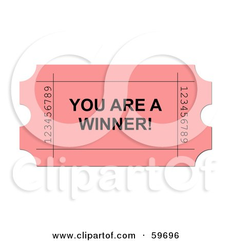 Royalty-Free (RF) Clipart Illustration of a Pink You Are A Winner Ticket On White by oboy