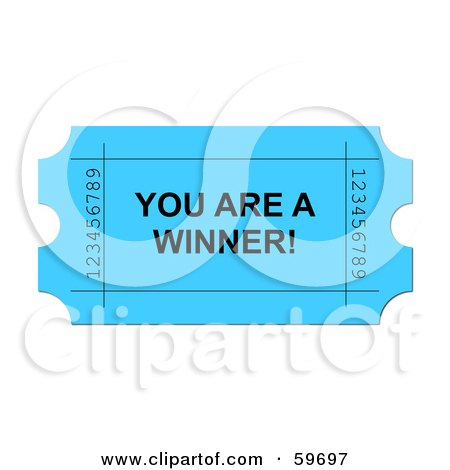 Royalty-Free (RF) Clipart Illustration of a Bright Blue You Are A Winner Ticket On White by oboy
