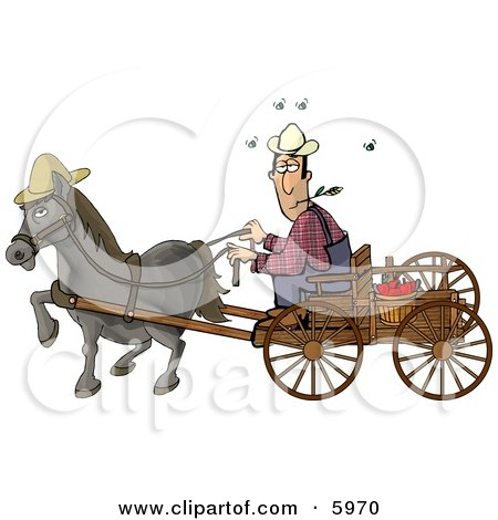 Horse Pulling a Farmer On a Wagon Clipart Picture by djart