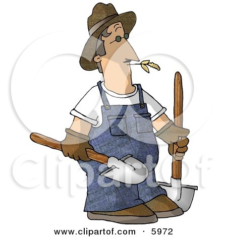Farmer Carrying Two Rounded Tip Shovels Clipart Picture