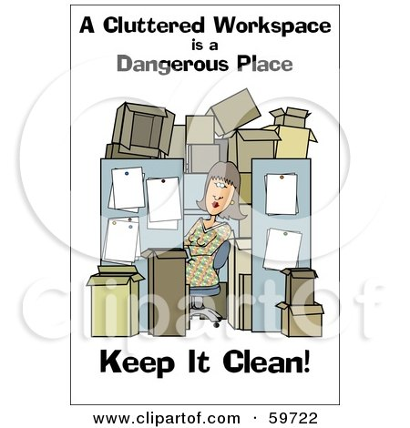 Royalty-Free (RF) Clipart Illustration of a Woman In A Cluttered Cubical by djart