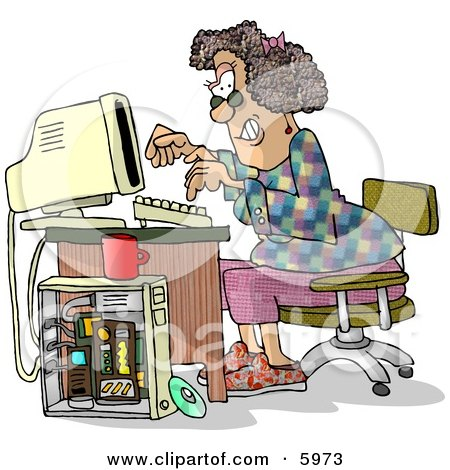 Female Computer Hacker Typing On a Keyboard Clipart Picture by djart
