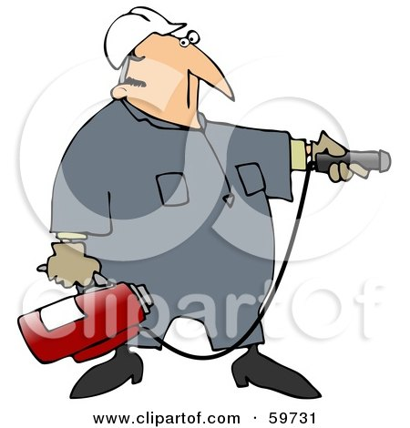 Royalty-Free (RF) Clipart Illustration of an Industrial Worker Man Preparing To Use A Fire Extinguisher by djart