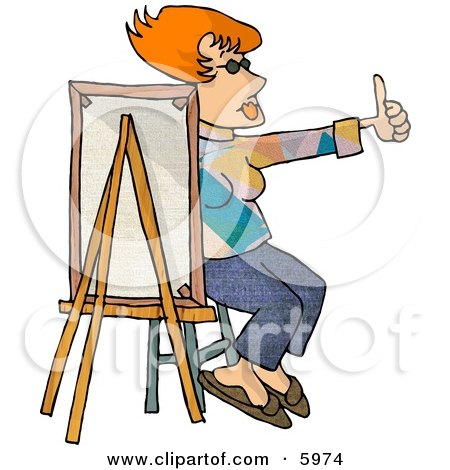 Female Painter Sitting Behind a Canvas While Holding Her Thumb Up Posters, Art Prints