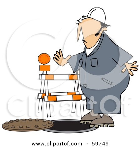 Royalty-Free (RF) Clipart Illustration of a Male Worker Nearly Falling Into A Man Hole by djart