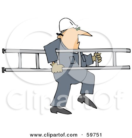 Royalty-Free (RF) Clipart Illustration of a Worker Man Carrying A Ladder by djart