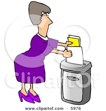 Female Secretary Feeding a Paper Shredder Confidential Documents Posters, Art Prints