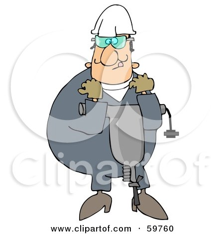 Royalty-Free (RF) Clipart Illustration of a Worker Man Carrying A Jackhammer by djart