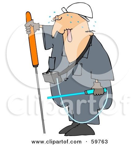 Royalty-Free (RF) Clipart Illustration of a Male Worker Sweating And Checking For Gas Leaks by djart