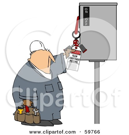 Royalty-Free (RF) Clipart Illustration of a Worker Guy Reading An Electrical Tag by djart