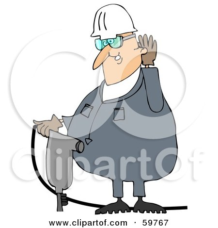 Royalty-Free (RF) Clipart Illustration of a Male Worker Cupping His Ear And Operating A Jackhammer by djart