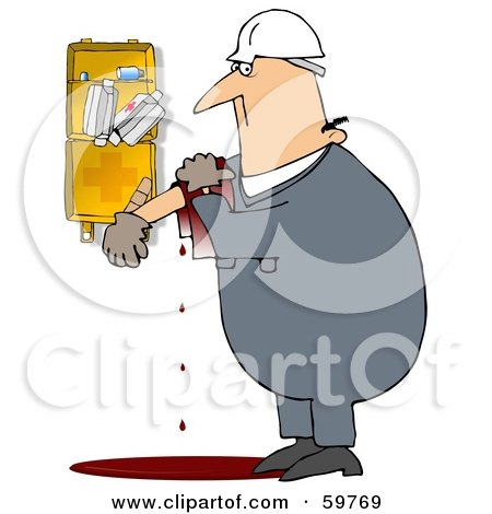 Royalty-Free (RF) Clipart Illustration of an Injured Worker Bleeding Near A First Aid Kit by djart