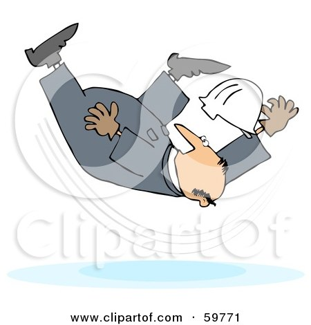 Royalty-Free (RF) Clipart Illustration of a Male Worker Taking A Fall On A Slipper Floor by djart