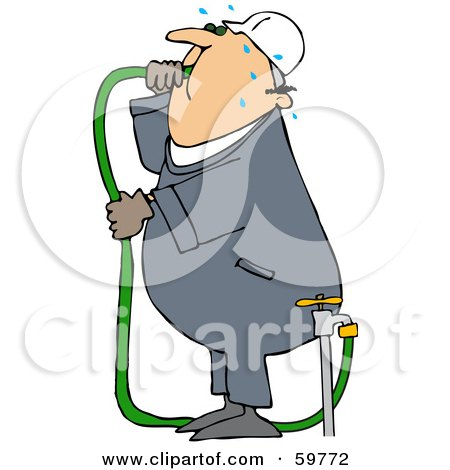 Royalty-Free (RF) Clipart Illustration of a Thirsty Worker Man Gulping Hose Water by djart