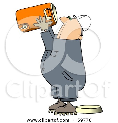 Royalty-Free (RF) Clipart Illustration of a Very Thirsty Worker Man Drinking Straight From A Large Cooler by djart