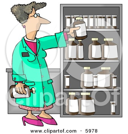 Female Pharmacist Restocking the Shelves with Bottles of Medicine and Drugs Posters, Art Prints