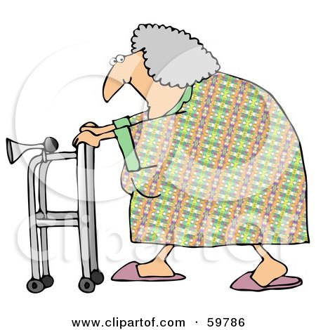 Royalty-Free (RF) Clipart Illustration of a Granny Walking By With Her Walker by djart