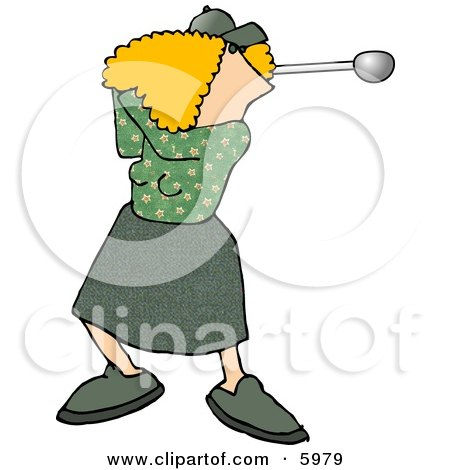 Female Golfer Swinging a Club Clipart Picture by djart
