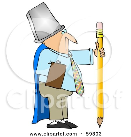 Royalty-Free (RF) Clipart Illustration of a Businessman Warrior Wearing A Trash Can And Cape, Holding A Pencil by djart