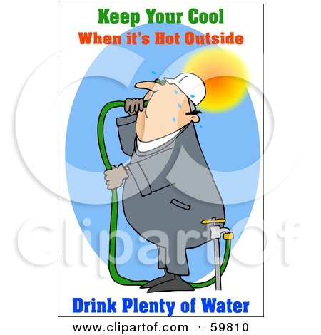Royalty-Free (RF) Clipart Illustration of a Thirsty Worker Drinking Hose Water by djart