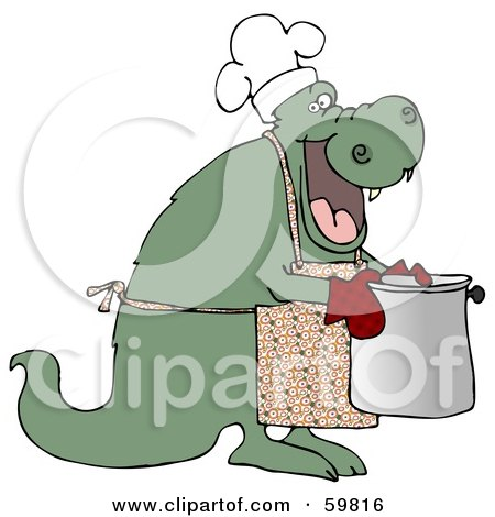 Royalty-Free (RF) Clipart Illustration of a Green Dragon Wearing An Apron And Carrying A Pot by djart