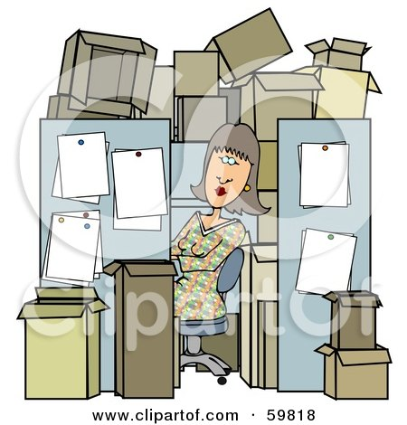 Royalty-Free (RF) Clipart Illustration of a Busy Woman Working In A Tiny Cubicle Crowded With Boxes by djart