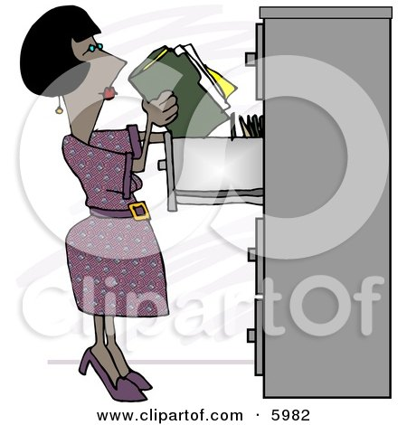 African American Female Clerk Putting Documents Into a Filing Cabinet Posters, Art Prints