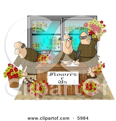 Three Men Working in a Flower Store Clipart Picture by djart