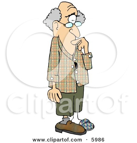 Forgetful Old Man with Alzheimer's Disease Clipart Picture by Dennis Cox