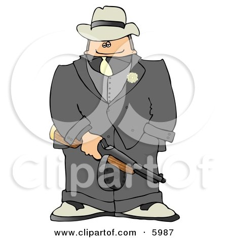 Gangster Armed with a Tommy Gun Clipart Picture by djart