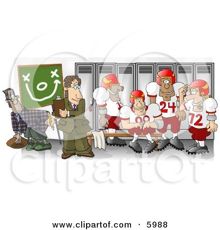 Football Coach Standing in the Locker Room with His Players Posters, Art Prints