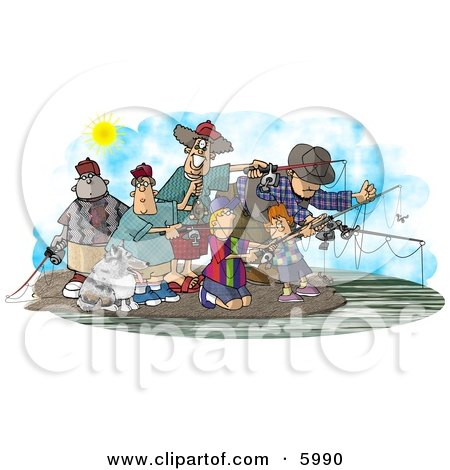 Family and Friends Fishing Together at a Lake Clipart Picture by djart
