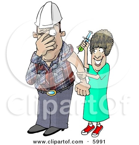 Scared Worker with Trypanophobia Getting a Flu Shot from a Nurse Clipart Picture by djart