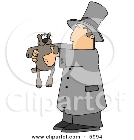 Royalty-free clipart of Happy Groundhog Day! This clip art image depicts a