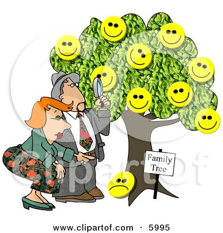 Male Genealogist Looking Through a Magnifying Glass at a Family Tree Clipart Picture by djart