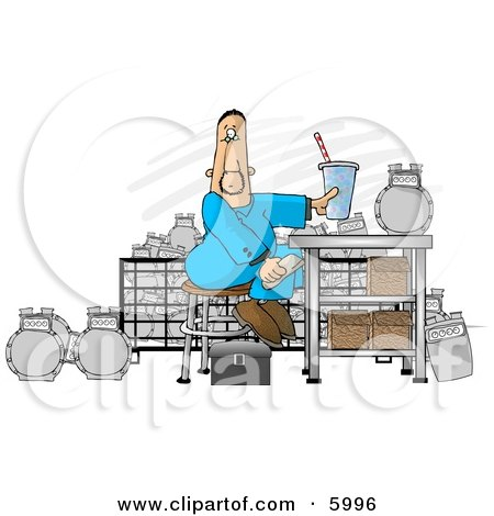 Gas Meter Repairman Sitting in His Shop Eating Lunch Clipart Picture by djart